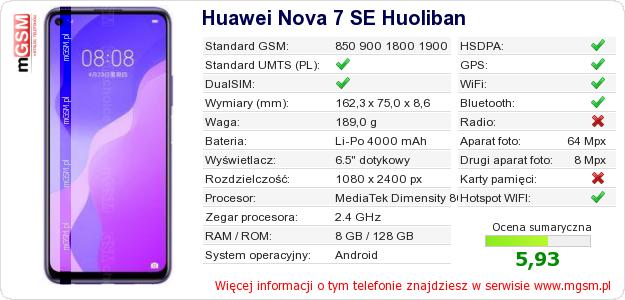 Dane telefonu Huawei Nova 7 SE Huoliban