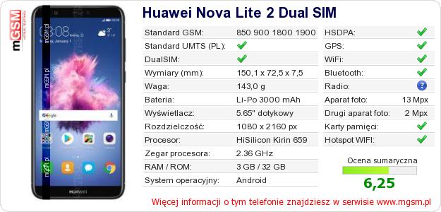 Dane telefonu Huawei Nova Lite 2 Dual SIM