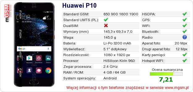 Dane telefonu Huawei P10