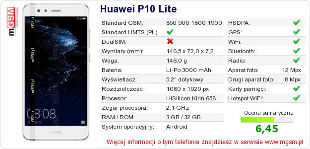 Dane telefonu Huawei P10 Lite