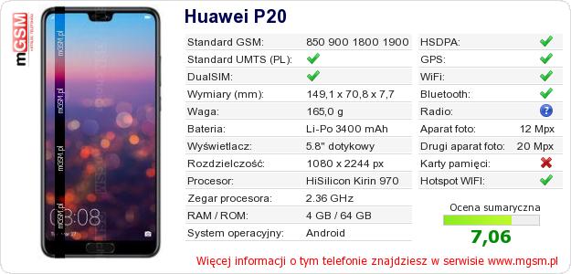 Dane telefonu Huawei P20