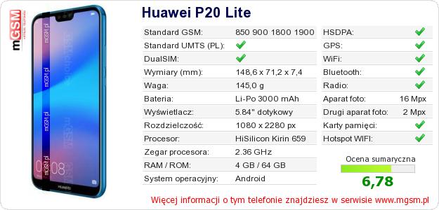 Dane telefonu Huawei P20 Lite