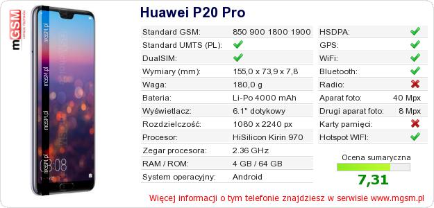 Dane telefonu Huawei P20 Pro