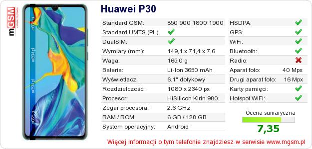 Dane telefonu Huawei P30
