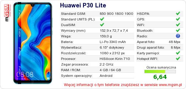 Dane telefonu Huawei P30 Lite