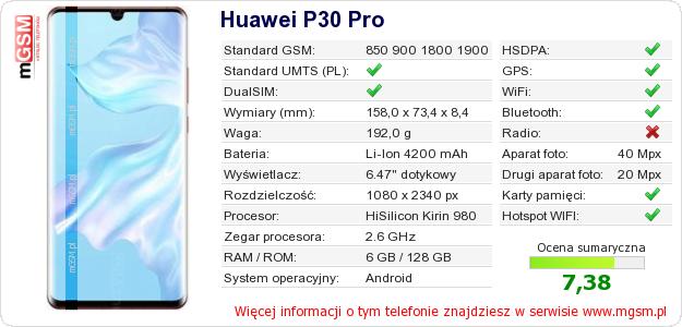 Dane telefonu Huawei P30 Pro