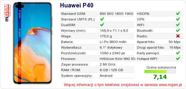 Dane telefonu Huawei P40