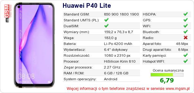 Dane telefonu Huawei P40 Lite