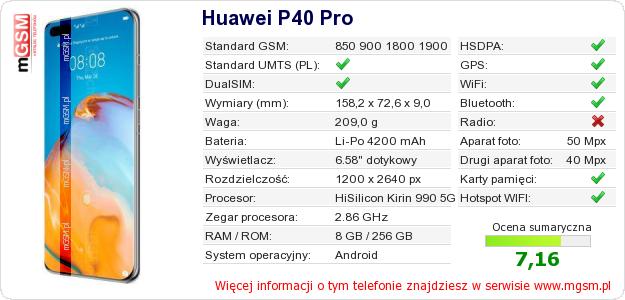 Dane telefonu Huawei P40 Pro