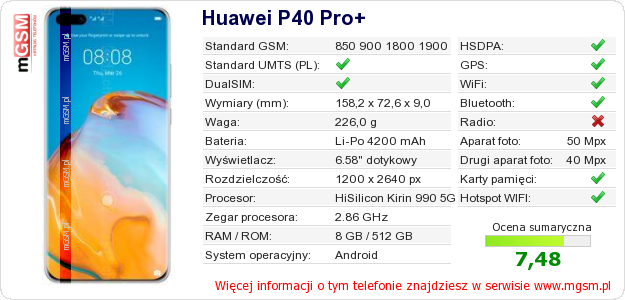 Dane telefonu Huawei P40 Pro+