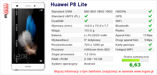 Dane telefonu Huawei P8 Lite