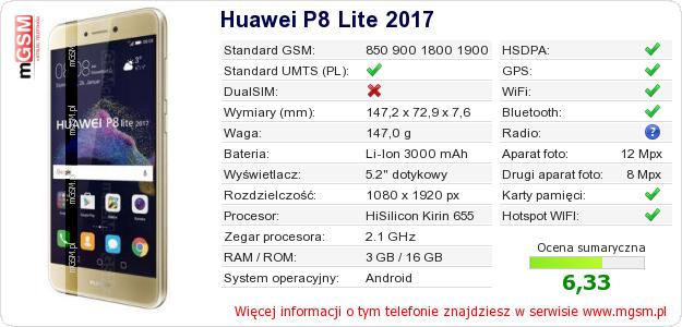 Dane telefonu Huawei P8 Lite 2017