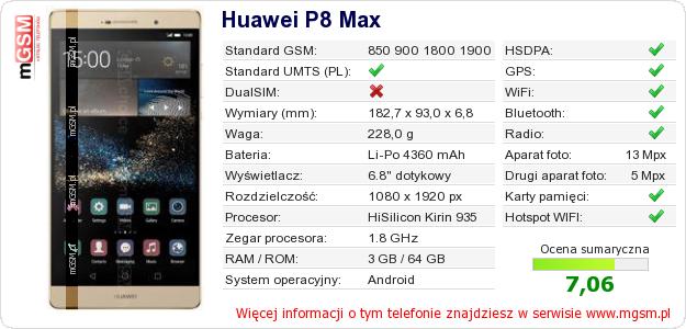 Dane telefonu Huawei P8 Max