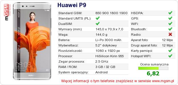 Dane telefonu Huawei P9