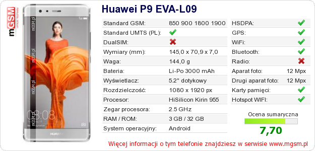 Dane telefonu Huawei P9 EVA-L09
