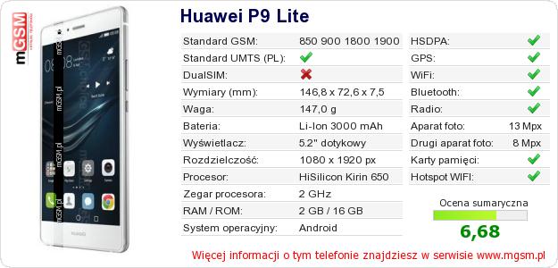 Dane telefonu Huawei P9 Lite