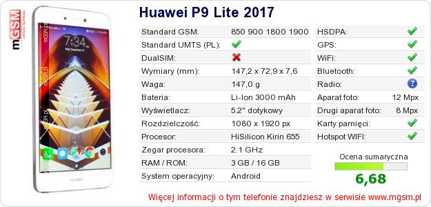 Dane telefonu Huawei P9 Lite 2017