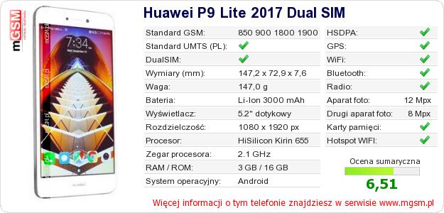 Dane telefonu Huawei P9 Lite 2017 Dual SIM
