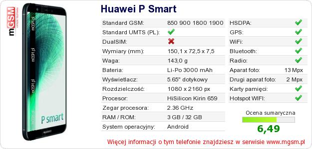 Dane telefonu Huawei P Smart