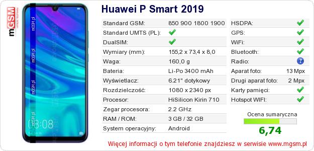 Dane telefonu Huawei P Smart 2019