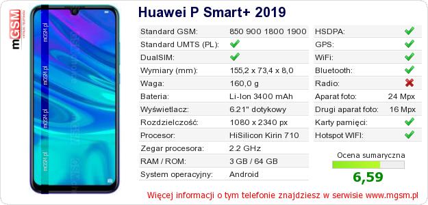 Dane telefonu Huawei P Smart+ 2019