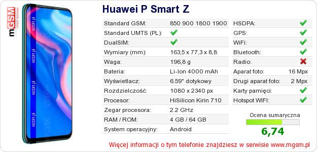 Dane telefonu Huawei P Smart Z