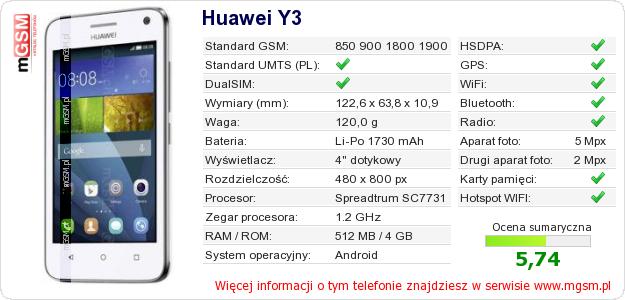 Dane telefonu Huawei Y3