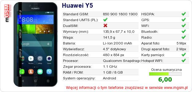 Dane telefonu Huawei Y5