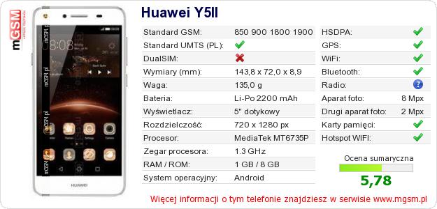 Dane telefonu Huawei Y5II