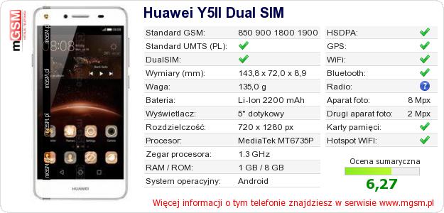 Dane telefonu Huawei Y5II Dual SIM