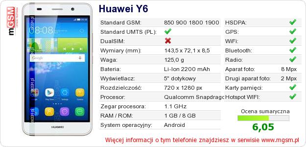 Dane telefonu Huawei Y6