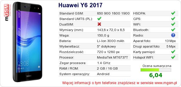 Dane telefonu Huawei Y6 2017