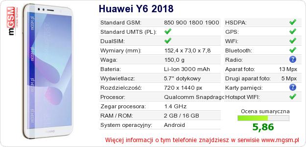 Dane telefonu Huawei Y6 2018