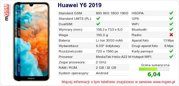 Dane telefonu Huawei Y6 2019