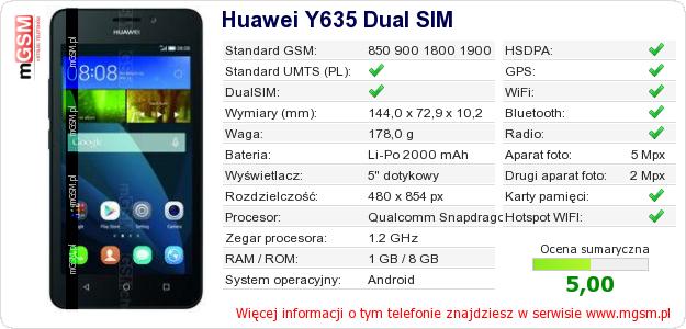 Dane telefonu Huawei Y635 Dual SIM