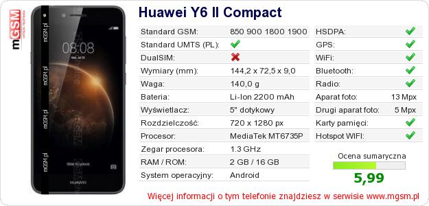Dane telefonu Huawei Y6 II Compact