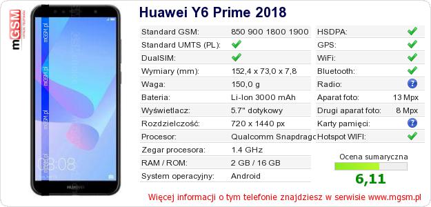 Dane telefonu Huawei Y6 Prime 2018