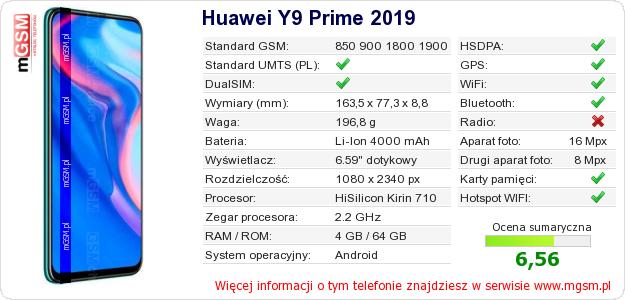 Dane telefonu Huawei Y9 Prime 2019