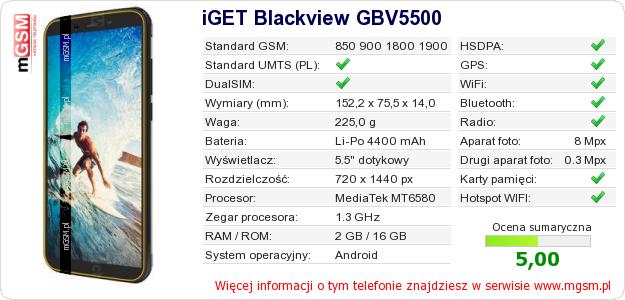 Dane telefonu iGET Blackview GBV5500
