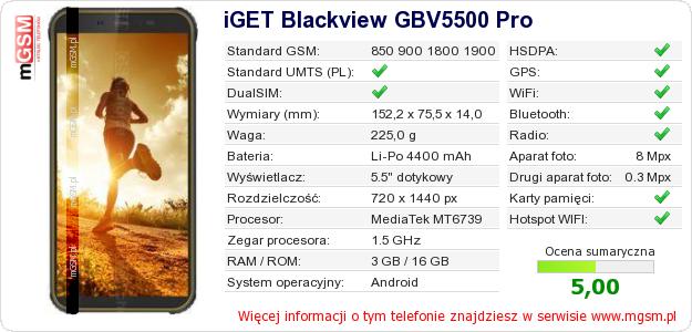 Dane telefonu iGET Blackview GBV5500 Pro