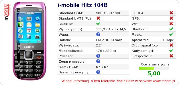 Dane telefonu i-mobile Hitz 104B