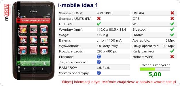 Dane telefonu i-mobile idea 1