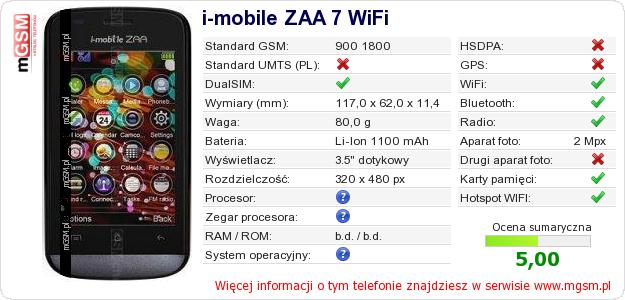 Dane telefonu i-mobile ZAA 7 WiFi