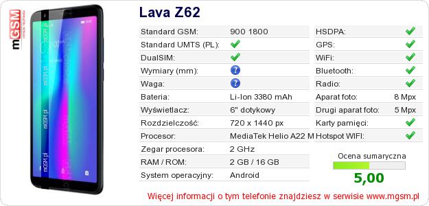 Dane telefonu Lava Z62