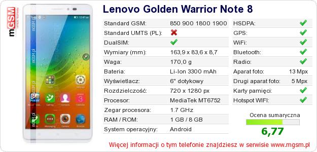 Dane telefonu Lenovo Golden Warrior Note 8