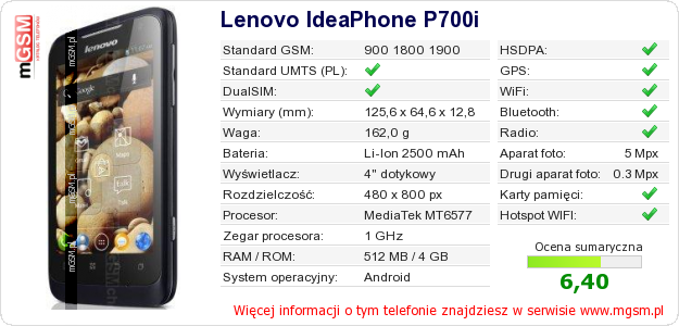 Dane telefonu Lenovo IdeaPhone P700i