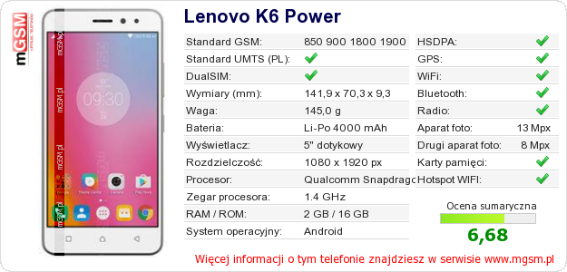 Dane telefonu Lenovo K6 Power