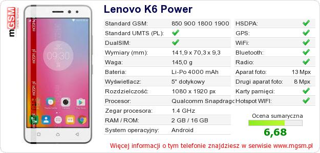 Dane telefonu Lenovo K6 Power