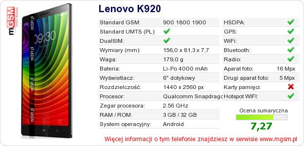 Dane telefonu Lenovo K920