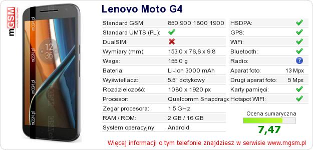 Dane telefonu Lenovo Moto G4